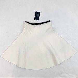 Zara circle knit skirt mini ivory contrast waist